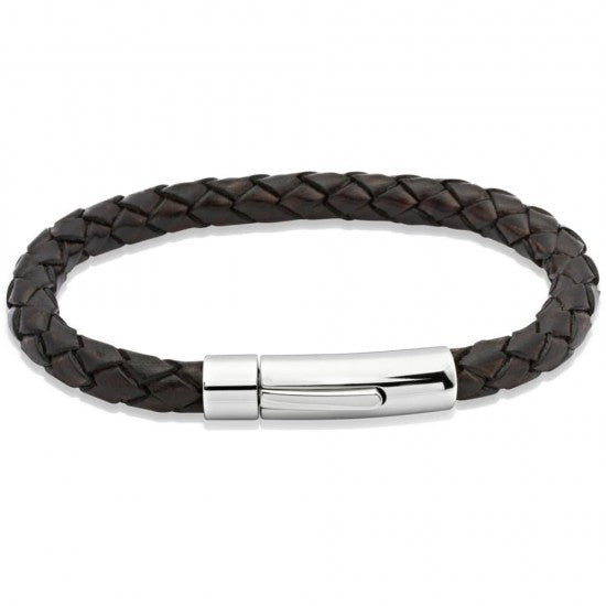 Men's Antique Dark Brown Leather Bracelet