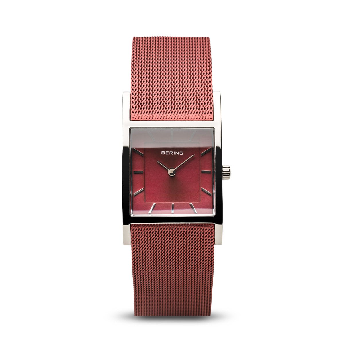 Bering Ladies Stainless Steel Square Dial Red Mesh Strap Watch 10426-303-S