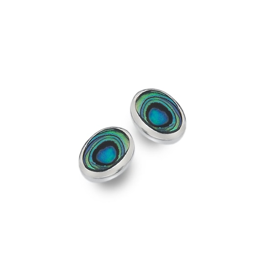 Sterling Silver Oval Paua Stud Earrings