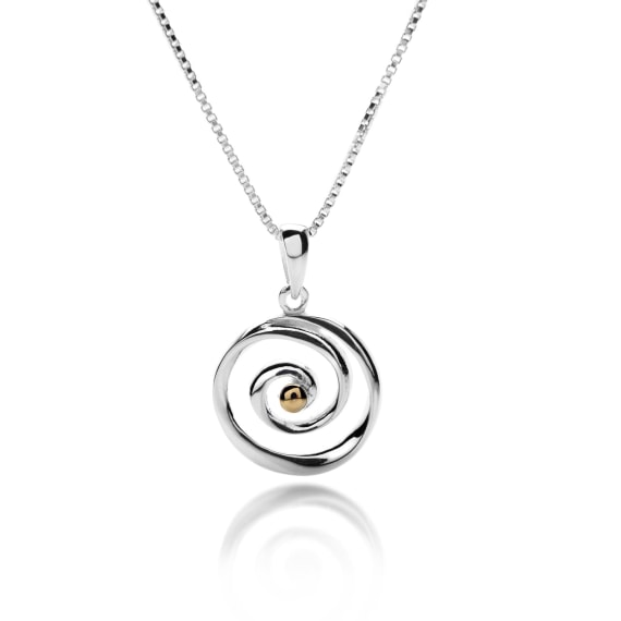 Sterling Silver Spiral Shaped Pendant and Chain