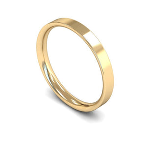 3mm Flat Court Wedding Ring, White Gold, Yellow Gold, Rose Gold, Platinum