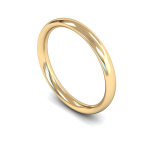 2mm Traditional Court Wedding Ring, White Gold, Yellow Gold, Rose Gold, Platinum