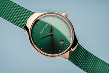 Load image into Gallery viewer, Bering Ladies Classic Rose Gold Emerald Green Watch 13326-868