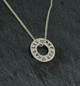 Sterling Silver Hand Stamped Disc Pendant and Chain