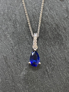 Sterling Silver And Blue CZ Necklace