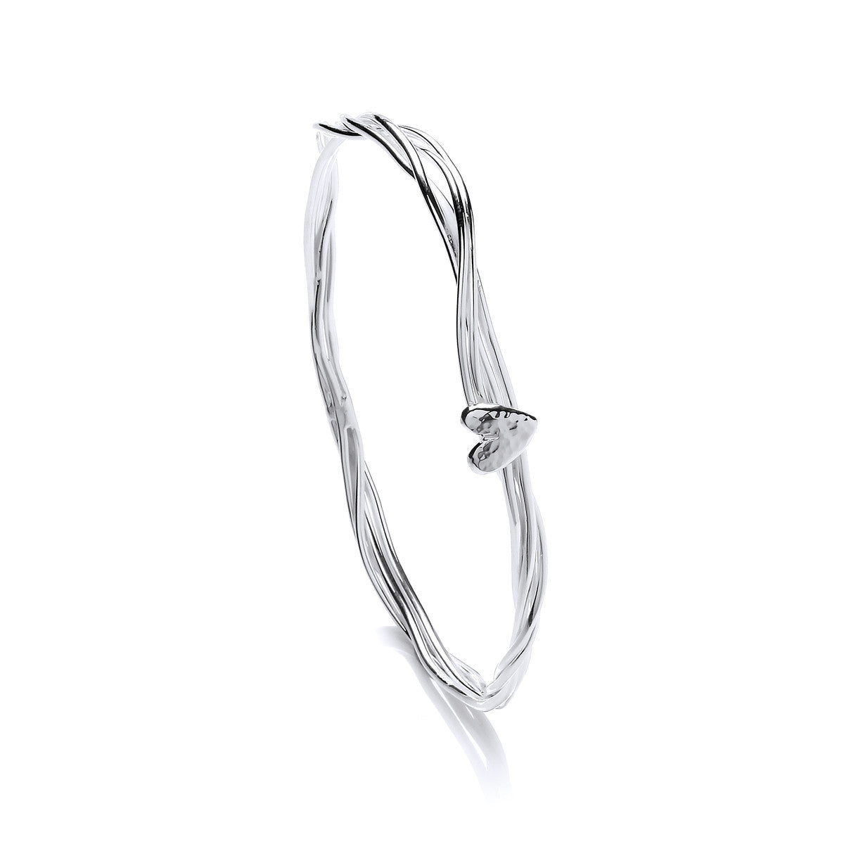 Stranded Heart Sterling Silver Bangle