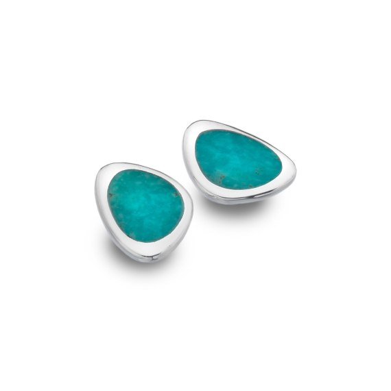 Sterling Silver Turquoise Organic Shape Stud Earrings