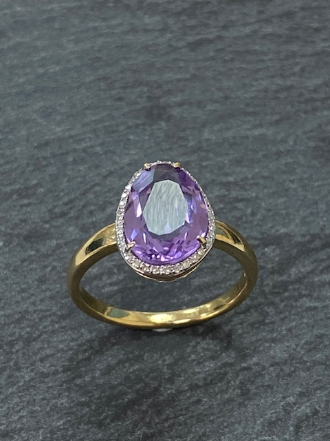 Amethyst And Diamond Ring In 9ct Yellow Gold