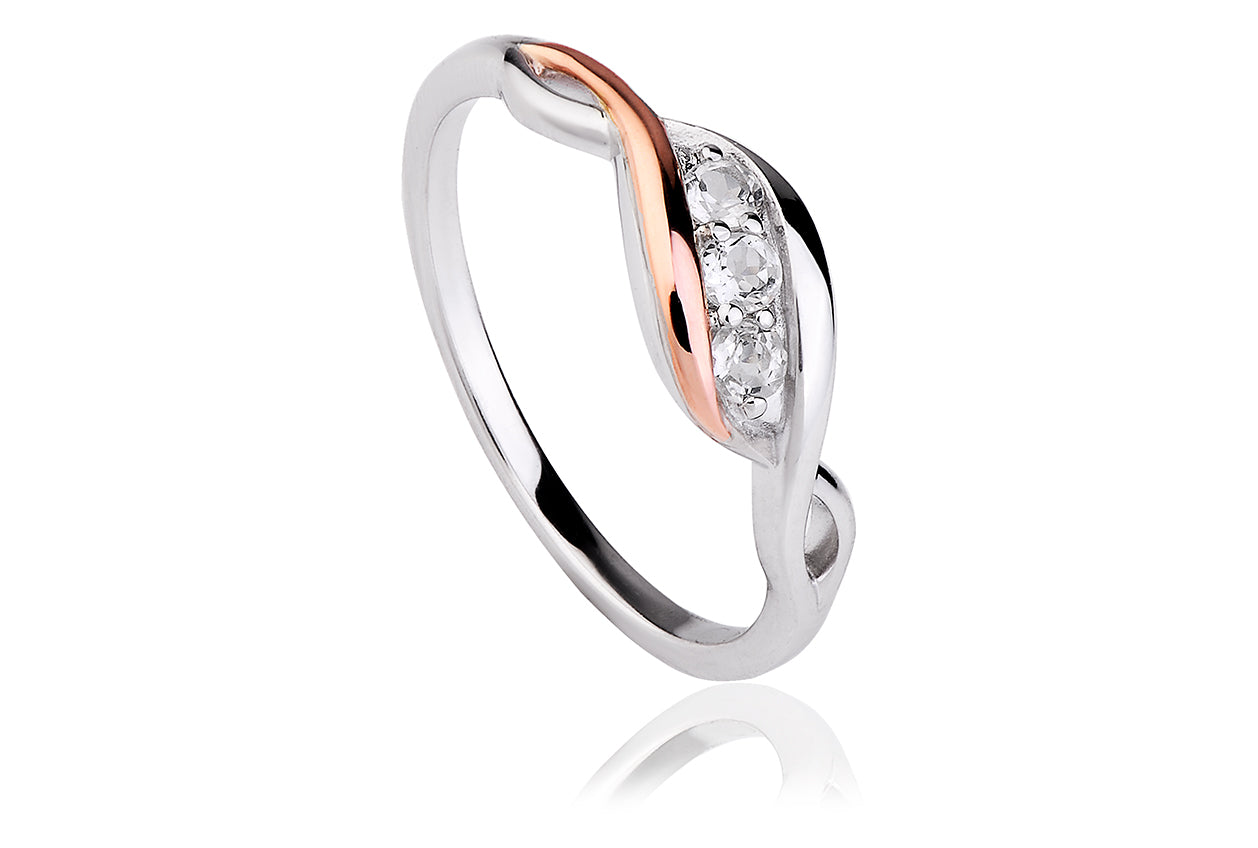 Clogau Past Present Future White Topaz Ring