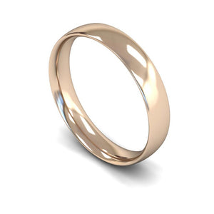 4mm Traditional Court Wedding Ring, White Gold, Yellow Gold, Rose Gold, Platinum