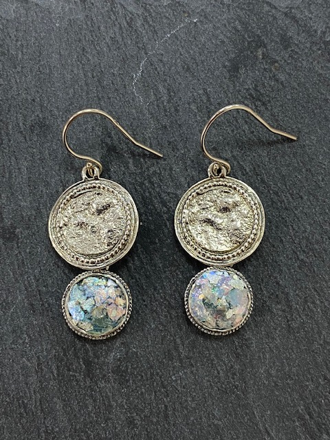 Roman Glass And Foil Coin Drop Earrings