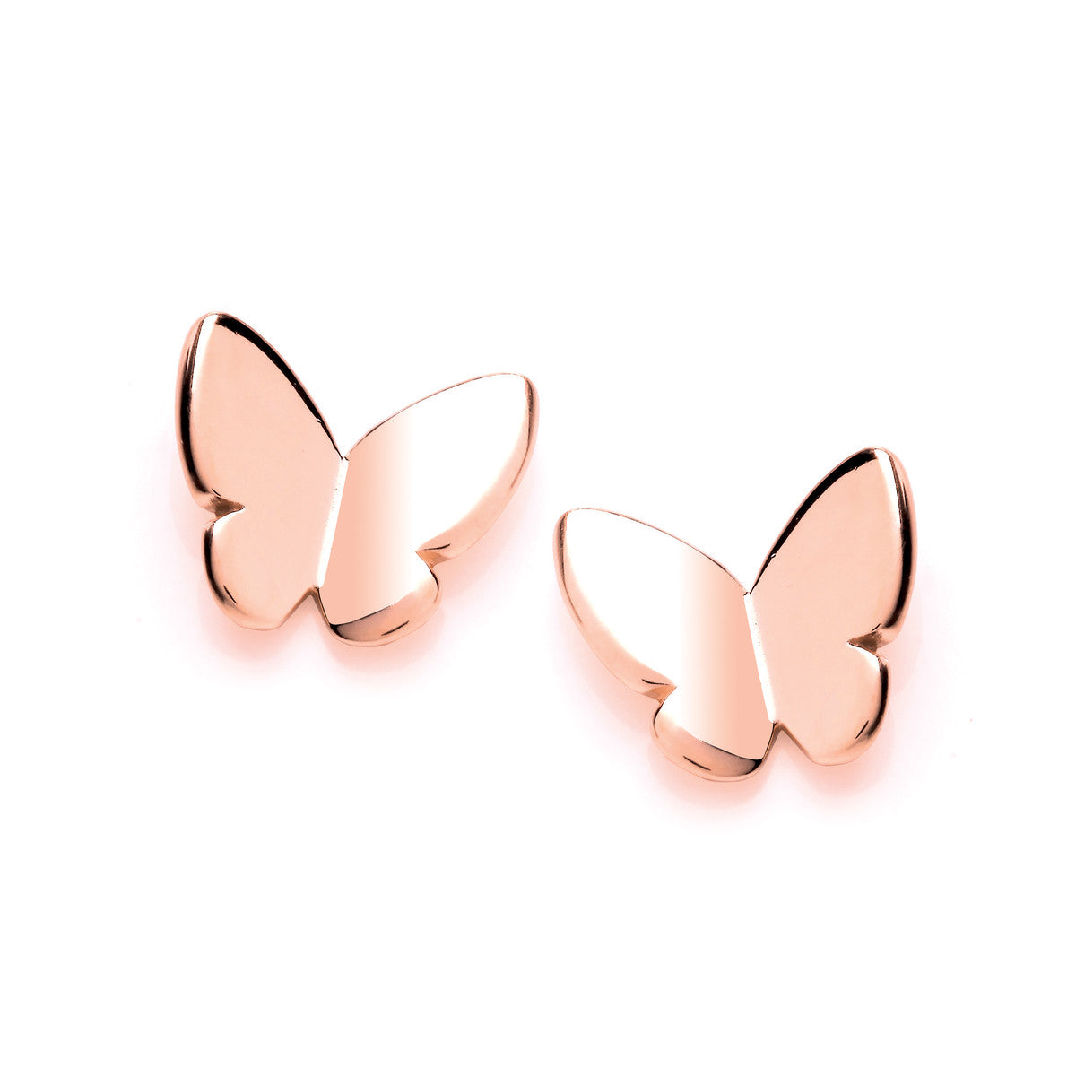 Sterling Silver Rose Gold Plated Butterfly Stud Earrings
