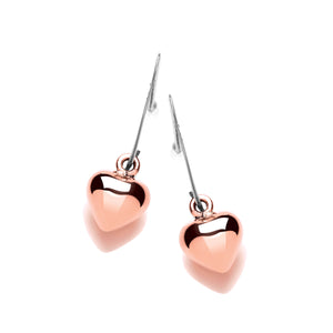 Sterling Silver and Copper Puffed Heart Drop Earrings
