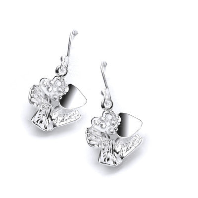 Sterling Silver Heart Cluster Drop Earrings