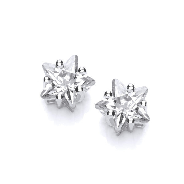 Sterling Silver and CZ Star Earrings