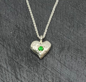 Sterling Silver Hammered Heart Necklace with Green Garnet