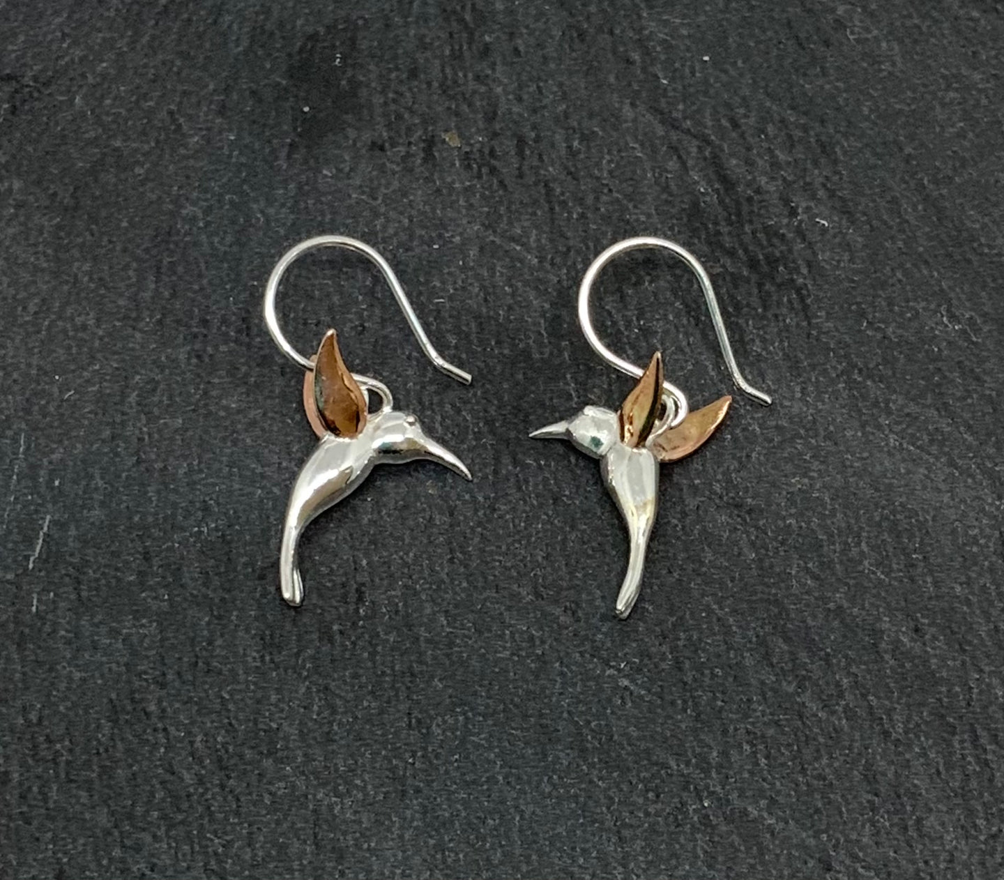 Sterling Silver and Rose Gold Humming Bird Drop Earrings