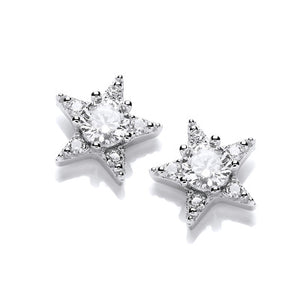 Silver and Cubic Zirconia Mini Shooting Star Earrings