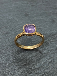 A Handmade 9ct Rose Gold and Purple Sapphire Ring
