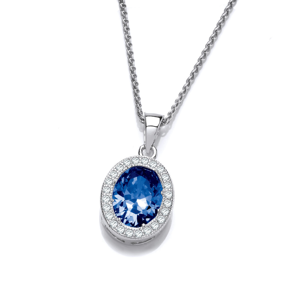 Cubic Zirconia and Blue Crystal Oval Pendant and Chain
