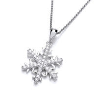 Sterling Silver Cubic Zirconia Snowflake Pendant with Chain