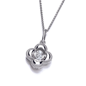 Silver and Dancing CZ Four Leaf Clover Pendant