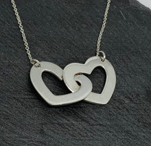 Load image into Gallery viewer, Sterling Silver Double Heart Necklace