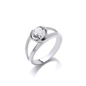 Silver Swirl and CZ Solitaire Ring
