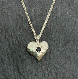 Sterling Silver Necklace with Solid Hammered Heart with Sapphire