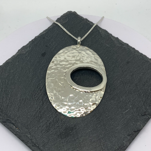 Sterling Silver Hammered Oval Shaped Pendant with Open Section