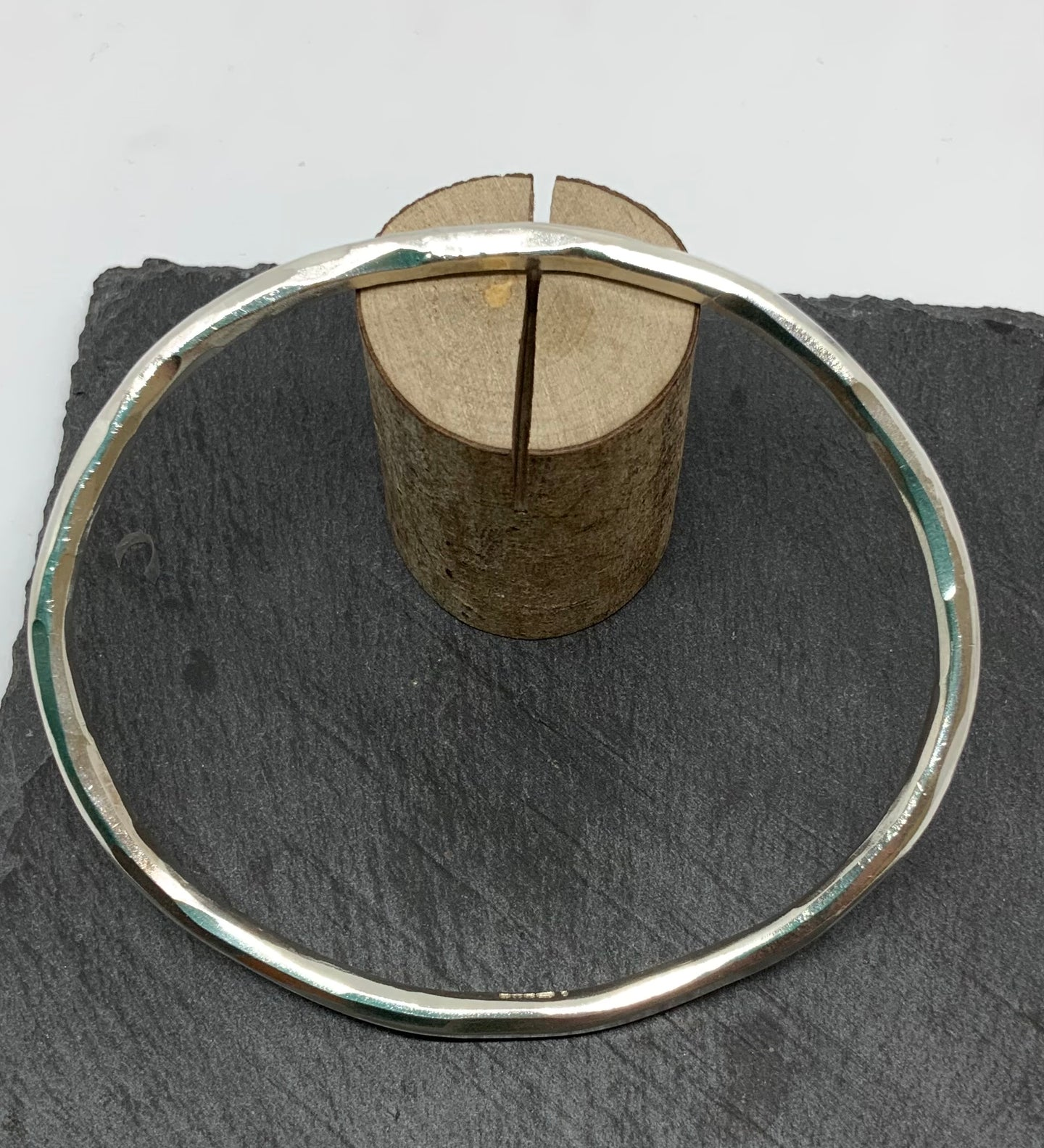 Sterling Silver Wrought Finish Oval Bangle