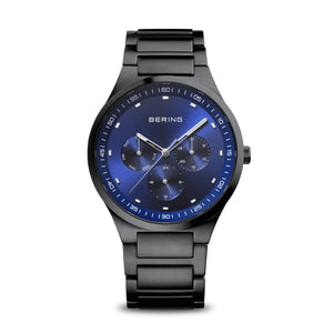Gents Bering Brushed Black Steel Watch, Sapphire Crystal Glass