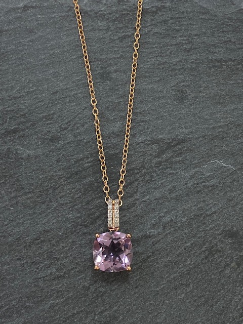 Amethyst And 9ct Rose Gold Necklace