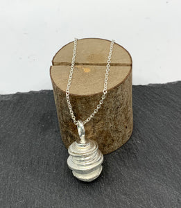 Sterling Silver Layered Discs Pendant and Chain