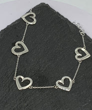 Load image into Gallery viewer, Sterling Silver Bracelet with Open Hearts