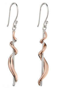 Sterling Silver and Rose Gold Twist Drop Earrings