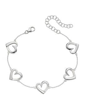 Sterling Silver Bracelet with Open Hearts