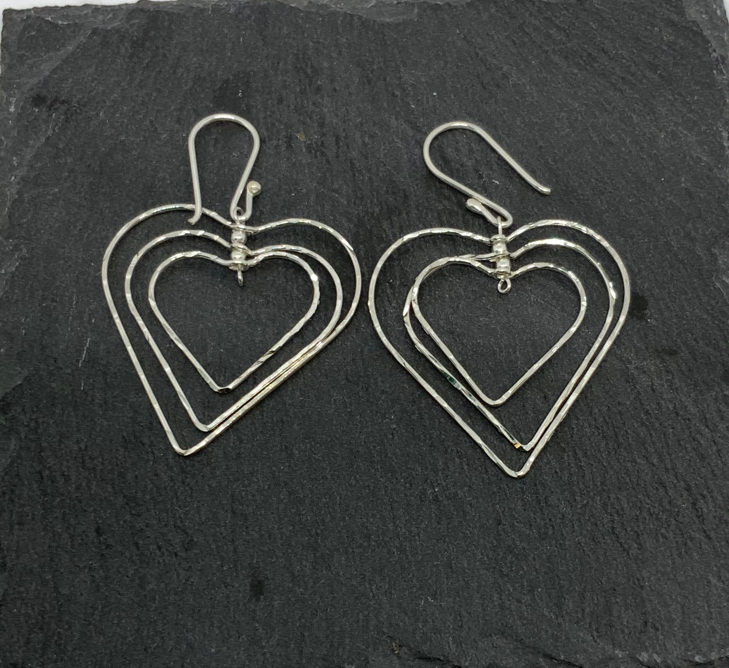 Sterling Silver Triple Heart Drop Earrings