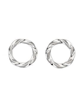 Sterling Silver Open Circle Twisted Stud Earrings