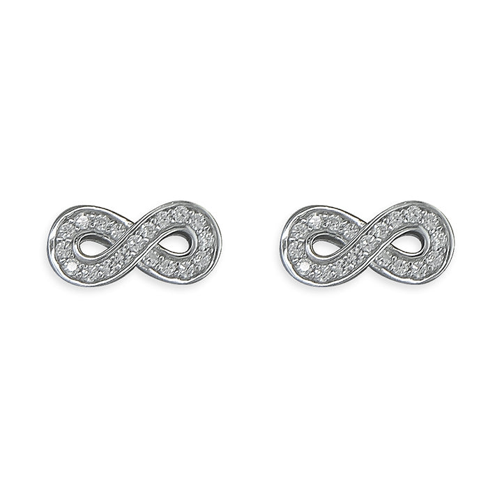 Sterling Silver Infinity Stud Earrings with Cubic Zirconia