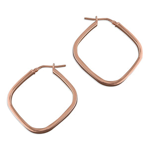 Rose Gold Plated Square Hoops