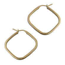Load image into Gallery viewer, Yellow Gold Plated Square Hoops