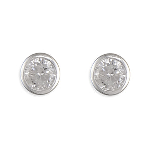 April Birthstone Stud Earrings, Sterling Silver