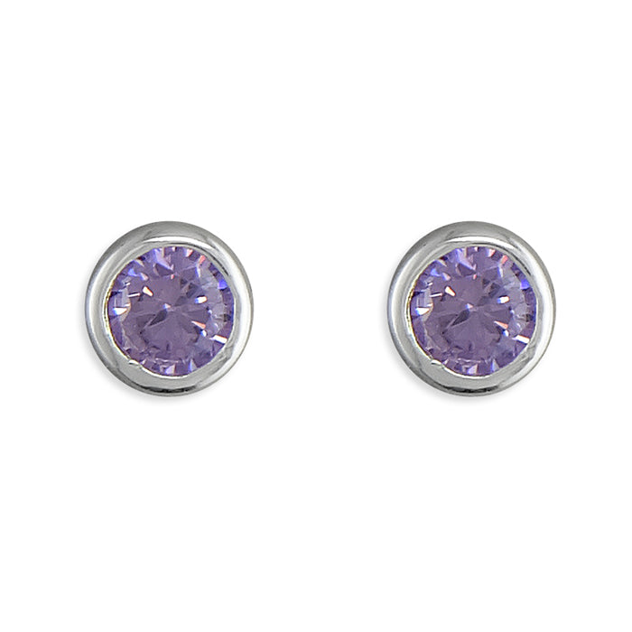 June Birthstone Studs, Sterling Silver