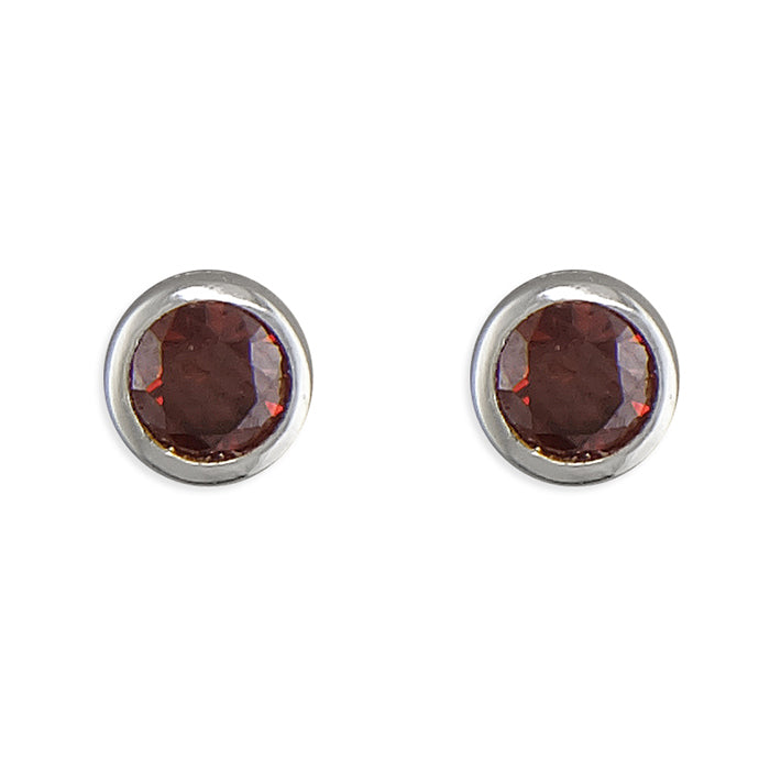July Birthstone Stud Earrings, Sterling Silver