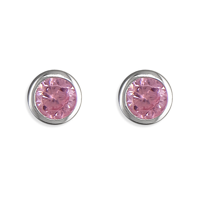 October Birthstone Stud Earrings, Sterling Silver
