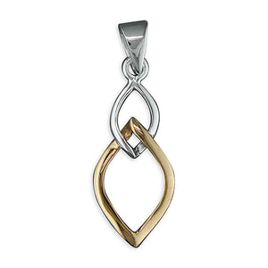 Sterling Silver & Gold Open Leaf Pendant