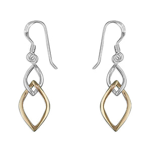 Sterling Silver & Yellow Gold Open Leaf Drops