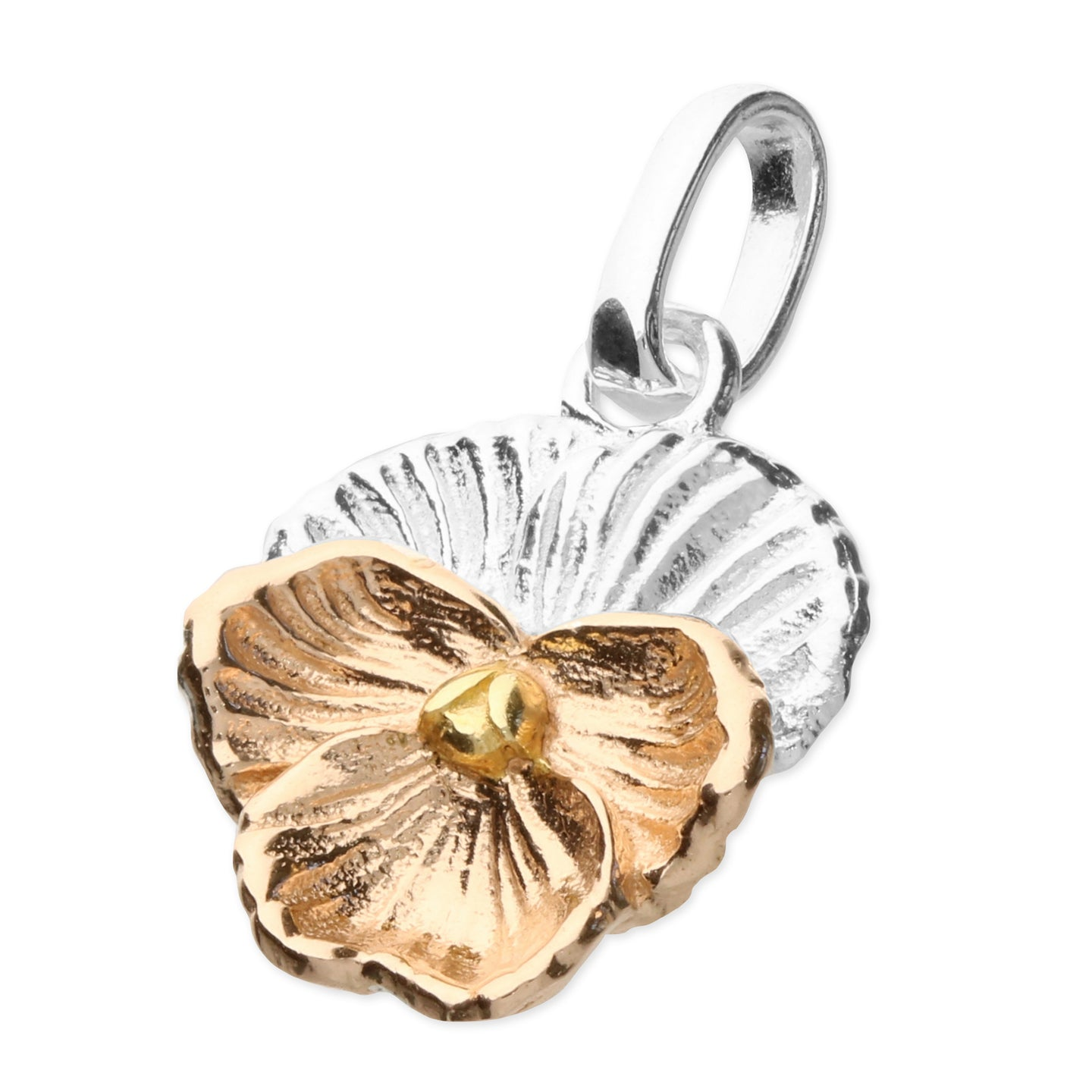 Sterling Silver 3 Tone Layered Flower Pendant & Chain
