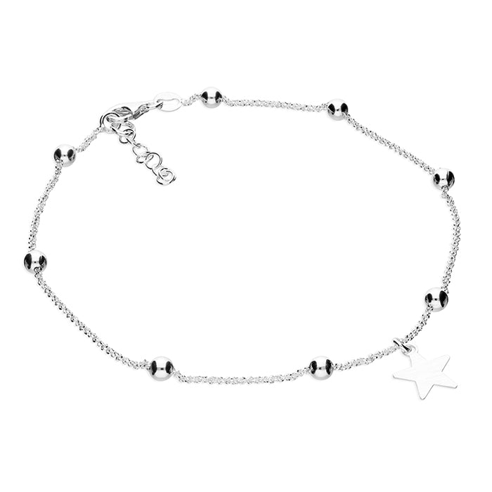 Sterling Silver Star and Bead Anklet